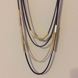 Lia Sophia black and gold long necklace